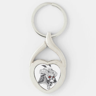 black and white samurai helmet with skull Silver-Colored twisted heart keychain
