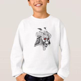 black and white samurai helmet with skull sweatshirt