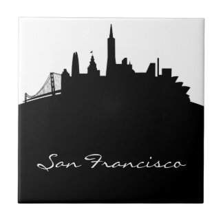 Black and White San Francisco Skyline Tile