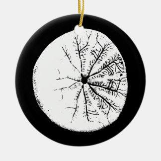 Black and white sand dollar round ceramic ornament