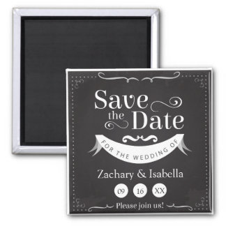 """Black and White Save the Date 2"""" Magnet"""