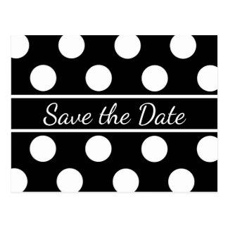 Black And White Save The Date Polka Dot Wedding Postcard