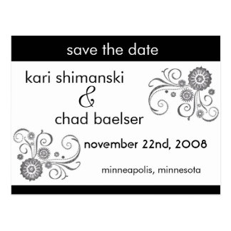 Black and white Save the date Postcard