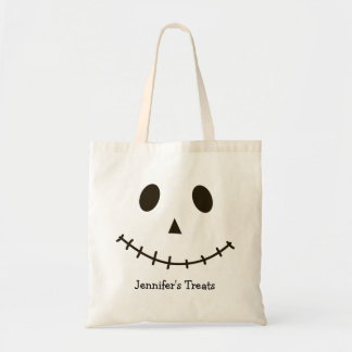 Black and White Scary Jack O Lantern Halloween Pum Tote Bag