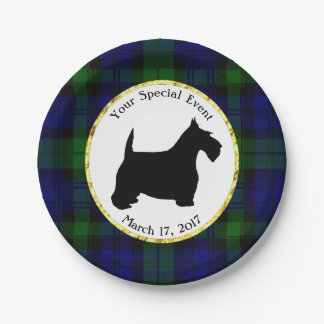 Black and White Scottie Plaid Personalize 7 Inch Paper Plate