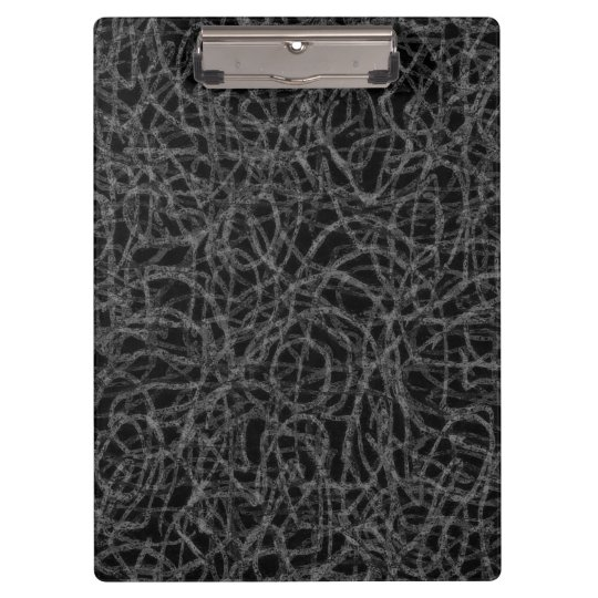 Black and white scribbled lines pattern clipboard