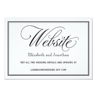 Black and White Script Wedding Website Card