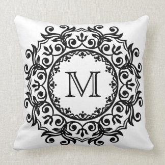 Black and White Scroll Wreath Monogram Throw Pillow