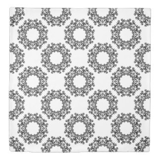 Black and White Scroll Wreath Reversible Duvet Cover