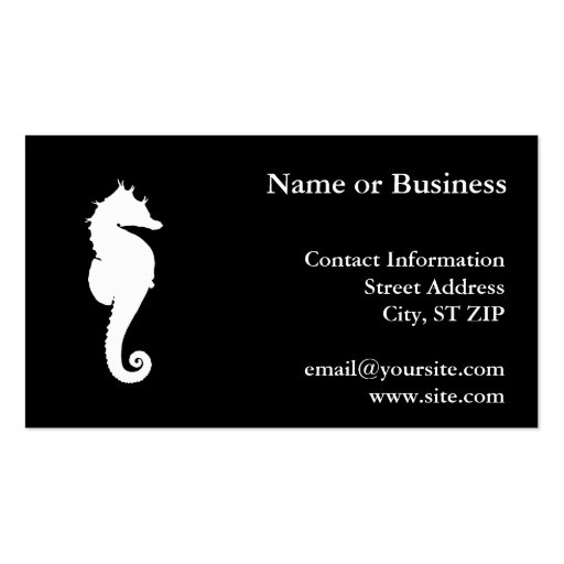 Black and White Seahorse Business Cards