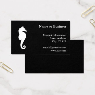 Black and White Seahorse Business Card