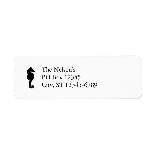 Black and White Seahorse Return Address Label