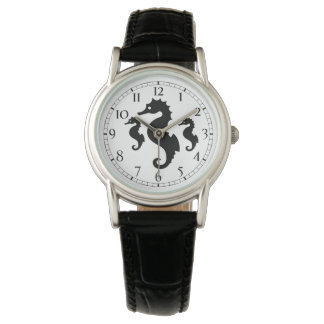 Black And White Seahorse Silhouettes Wristwatch