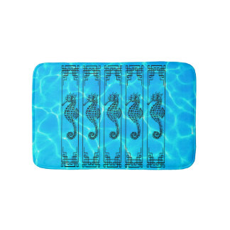 Black and White Seahorse - Water Effect Bath Mat