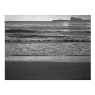 Black and white seaside landscape postcard