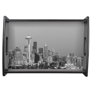 Black and White Seattle cityscape Serving Tray