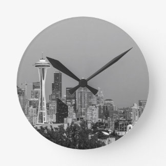 Black and White Seattle cityscape Wall Clocks