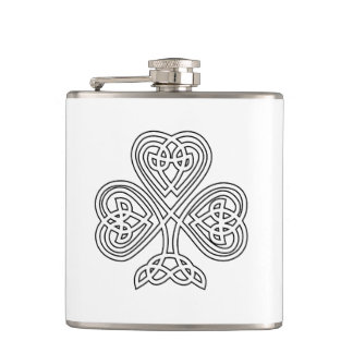 Black and White Shamrock Flasks