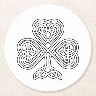 Black and White Shamrock Round Paper Coaster