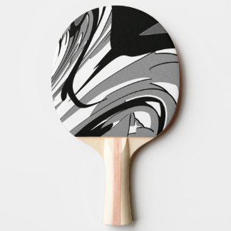Black and White Shape Art Ping Pong Paddle