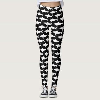 Black and white shark pattern athleisure leggings
