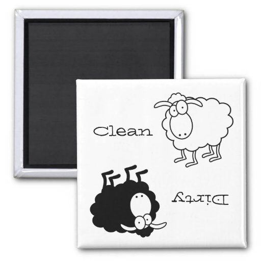 Black and white sheep Clean-Dirty Magnet