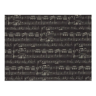 Black And White Sheet Music Postcard