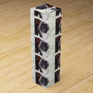 Black and White Sheltie Wine Gift Box