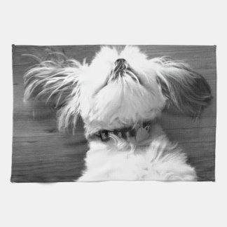 Black and White Shih-Tzu Puppy Towels
