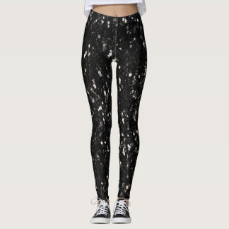 Black and white shiny glitter sparkles leggings