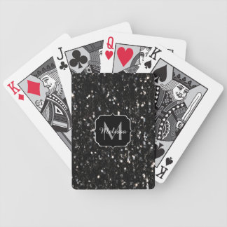 Black and white shiny glitter sparkles Monogram Bicycle Playing Cards