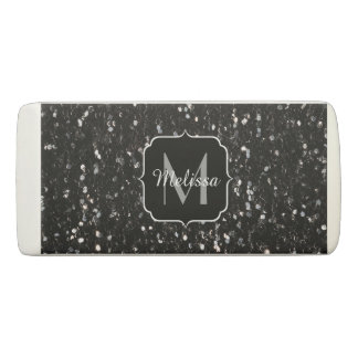 Black and white shiny glitter sparkles Monogram Eraser