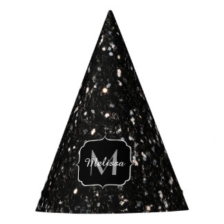 Black and white shiny glitter sparkles Monogram Party Hat