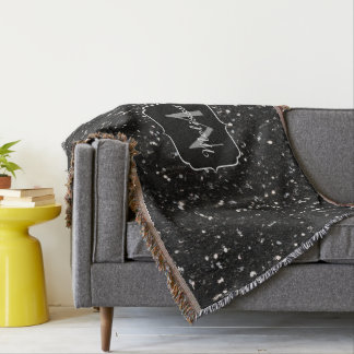 Black and white shiny glitter sparkles Monogram Throw Blanket
