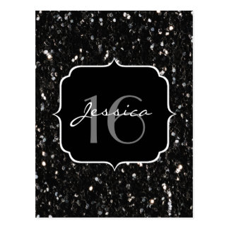 Black and white shiny glitter sparkles Sweet 16 Postcard