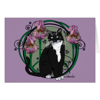 Black and White Short-Haired Cat with Irises Card