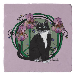 Black and White Short - Haired Cat with Irises Trivet