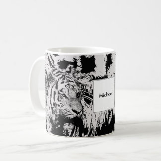 Black and white Siberian tiger print monogram name Coffee Mug