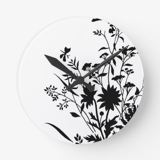 Black and White Silhouette Floral...wall clock