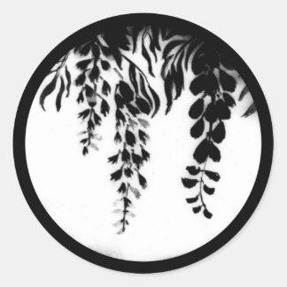 Black and White Silhouette Grape Vine shown on a Classic Round Sticker