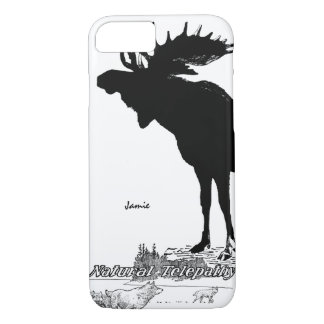 Black and White Silhouette Vintage Moose Wolf iPhone 7 Case