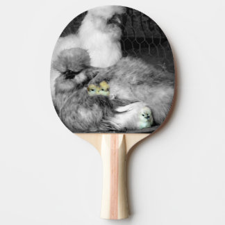 Black and White Silkie Chickens with yellow Chicks Ping Pong Paddle