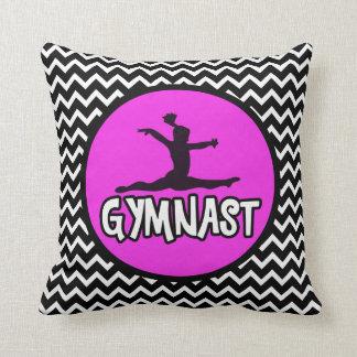 Black and White Simple Chevron Gymnast Pillow