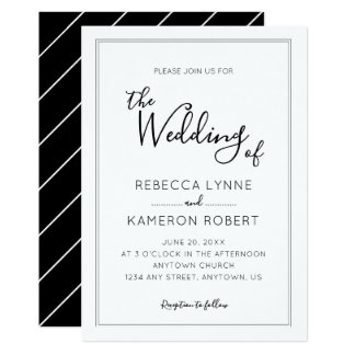 Black and White Simple Elegant Wedding Card