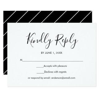Black and White Simple Elegant Wedding RSVP Card