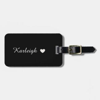 Black and White Single Name Luggage Tag