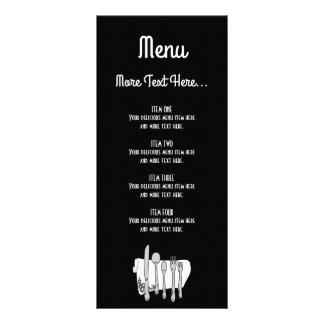 Black and White Siverware Design Menu Rack Card