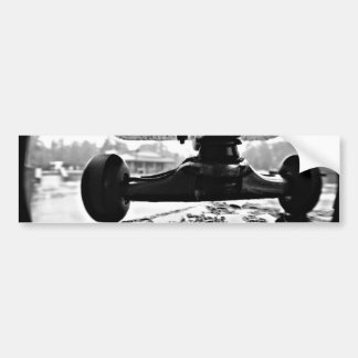 black and white skateboarding photograph bumper sticker