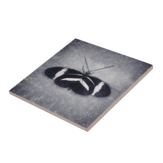 Black And White Sketch Butterfly Tile