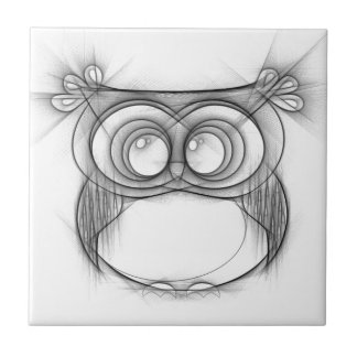 Black and White Sketch of Owl Tile